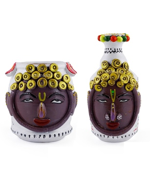 Handmade Exclusive Pair Of Male And Female M Seal & Terracotta Showpeice For Home Decor