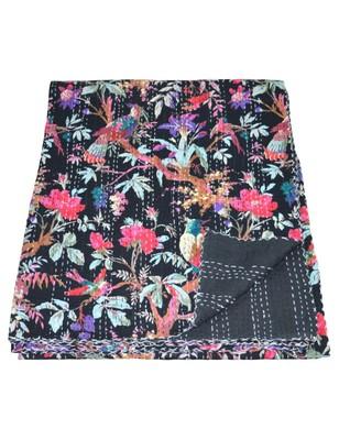 Kantha Quilt Queen Cotton Vintage Throw Blanket Multi Design Indian Handmade GDR0034