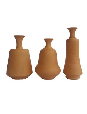 Handmade Genuine Mini Three Show Piece Terracotta Pot Set Idols And Figurines/Home Decor/ Showpieces
