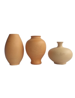 Handmade Mat Finish Mini Three Show Piece Terracotta Pot Set idols and Figurines/Home decor/ Showpieces