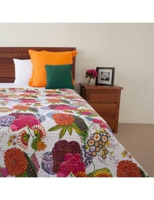 Kantha Quilt Queen Cotton Vintage Throw Blanket Multi Design Indian Handmade GDR0053