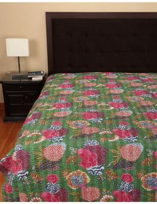 Kantha Quilt Queen Cotton Vintage Throw Blanket Multi Design Indian Handmade GDR0056
