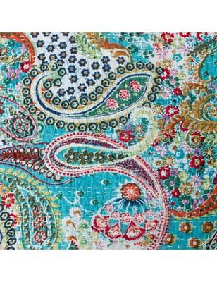 Kantha Quilt Queen Cotton Vintage Throw Blanket Multi Design Indian Handmade GDR0059