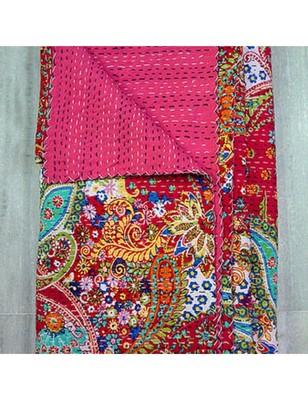 Kantha Quilt Queen Cotton Vintage Throw Blanket Multi Design Indian Handmade GDR0063