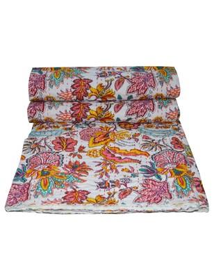 Kantha Quilt Queen Cotton Vintage Throw Blanket Multi Design Indian Handmade GDR0064