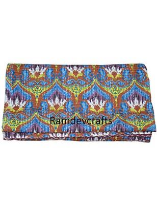 Kantha Quilt Queen Cotton Vintage Throw Blanket Multi Design Indian Handmade GDR0069