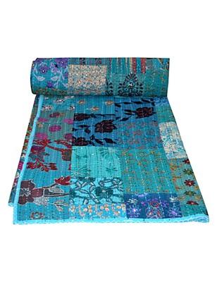 Kantha Quilt Queen Cotton Vintage Throw Blanket Multi Design Indian Handmade GDR0076