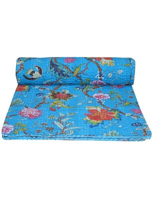 Kantha Quilt Queen Cotton Vintage Throw Blanket Multi Design Indian Handmade GDR0081
