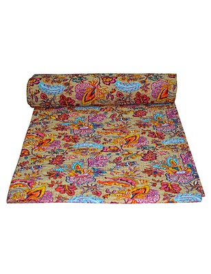 Kantha Quilt Queen Cotton Vintage Throw Blanket Multi Design Indian Handmade GDR0086