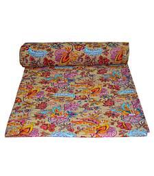 Kantha Quilt Queen Cotton Vintage Throw Blanket Multi Design Indian Handmade GDR0086