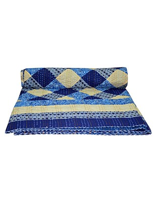 Kantha Quilt Queen Cotton Vintage Throw Blanket Multi Design Indian Handmade GDR0092