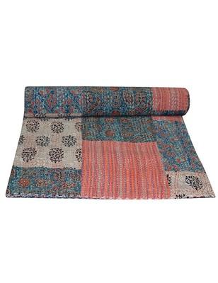Kantha Quilt Queen Cotton Vintage Throw Blanket Multi Design Indian Handmade GDR0113