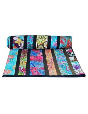 Kantha Quilt Queen Cotton Vintage Throw Blanket Multi Design Indian Handmade GDR0127