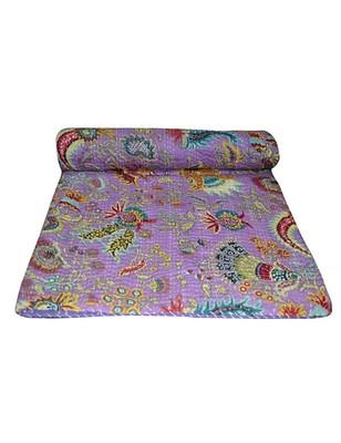 Kantha Quilt Queen Cotton Vintage Throw Blanket Multi Design Indian Handmade GDR0138
