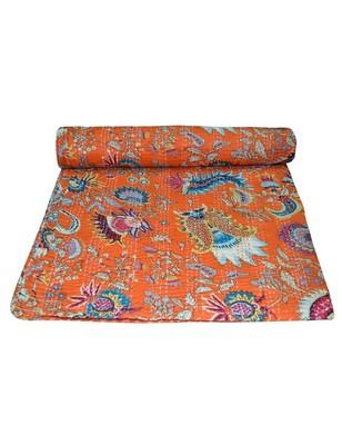 Kantha Quilt Queen Cotton Vintage Throw Blanket Multi Design Indian Handmade GDR0142