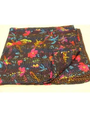 Kantha Quilt Queen Cotton Vintage Throw Blanket Multi Design Indian Handmade GDR0146