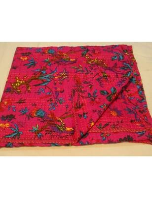 Kantha Quilt Queen Cotton Vintage Throw Blanket Multi Design Indian Handmade GDR0151