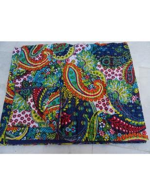 Kantha Quilt Queen Cotton Vintage Throw Blanket Multi Design Indian Handmade GDR0153