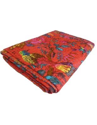 Kantha Quilt Queen Cotton Vintage Throw Blanket Multi Design Indian Handmade GDR0154