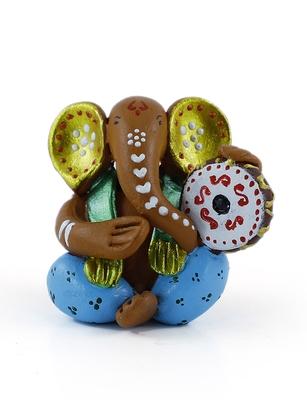 Handcrafted M Seal Art Ganesha Idol Playing Dholaki/Car Ganesh Gift Item/Showpiece