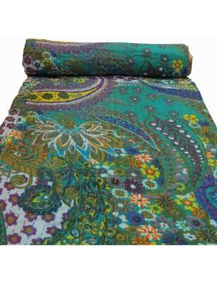 Kantha Quilt Queen Cotton Vintage Throw Blanket Multi Design Indian Handmade GDR0157