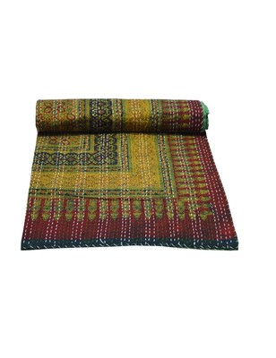 Kantha Quilt Queen Cotton Vintage Throw Blanket Multi Design Indian Handmade GDR0171