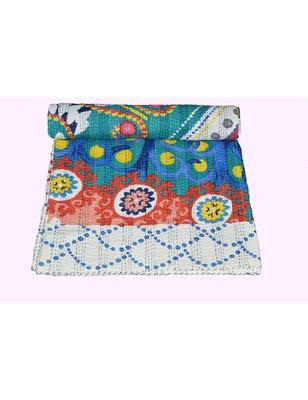Kantha Quilt Queen Cotton Vintage Throw Blanket Multi Design Indian Handmade GDR0181