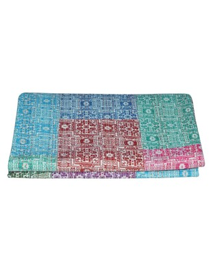 Kantha Quilt Queen Cotton Vintage Throw Blanket Multi Design Indian Handmade GDR0201