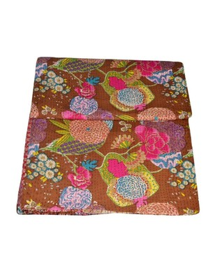 Kantha Quilt Queen Cotton Vintage Throw Blanket Multi Design Indian Handmade GDR0237