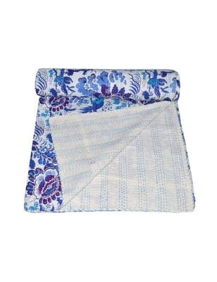 Kantha Quilt Queen Cotton Vintage Throw Blanket Multi Design Indian Handmade GDR0242