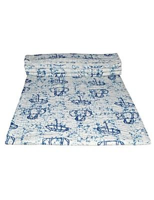 Kantha Quilt Queen Cotton Vintage Throw Blanket Multi Design Indian Handmade GDR0246
