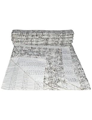 Kantha Quilt Queen Cotton Vintage Throw Blanket Multi Design Indian Handmade GDR0248
