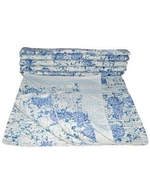 Kantha Quilt Queen Cotton Vintage Throw Blanket Multi Design Indian Handmade GDR0249