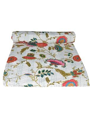 Kantha Quilt Queen Cotton Vintage Throw Blanket Multi Design Indian Handmade GDR0250