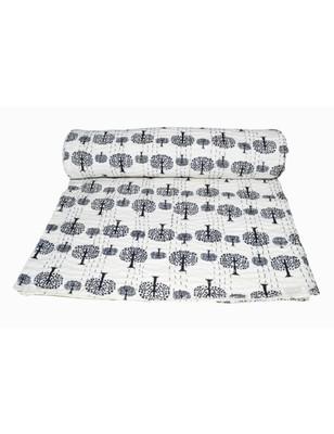 Kantha Quilt Queen Cotton Vintage Throw Blanket Multi Design Indian Handmade GDR0260