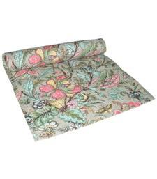Kantha Quilt Queen Cotton Vintage Throw Blanket Multi Design Indian Handmade GDR0267
