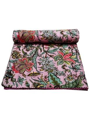 Kantha Quilt Queen Cotton Vintage Throw Blanket Multi Design Indian Handmade GDR0270