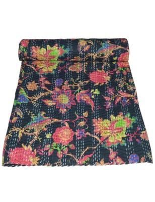 Kantha Quilt Queen Cotton Vintage Throw Blanket Multi Design Indian Handmade GDR0271
