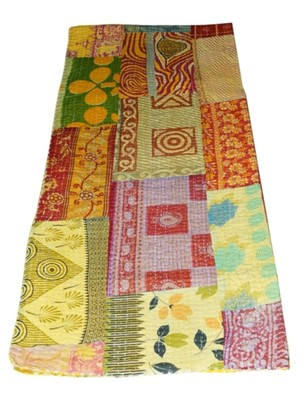 Kantha Quilt Queen Cotton Vintage Throw Blanket Multi Design Indian Handmade GDR0281