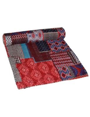 Kantha Quilt Queen Cotton Vintage Throw Blanket Multi Design Indian Handmade GDR0296