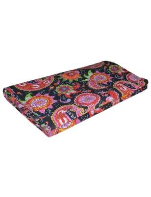 Kantha Quilt Queen Cotton Vintage Throw Blanket Multi Design Indian Handmade GDR0334