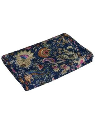 Kantha Quilt Queen Cotton Vintage Throw Blanket Multi Design Indian Handmade GDR0360