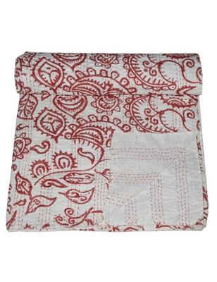 Kantha Quilt Queen Cotton Vintage Throw Blanket Multi Design Indian Handmade GDR0393