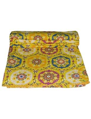 Kantha Quilt Queen Cotton Vintage Throw Blanket Multi Design Indian Handmade GDR0405