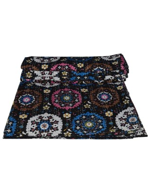 Kantha Quilt Queen Cotton Vintage Throw Blanket Multi Design Indian Handmade GDR0408