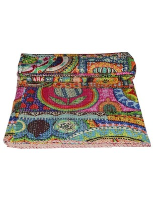 Kantha Quilt Queen Cotton Vintage Throw Blanket Multi Design Indian Handmade GDR0411