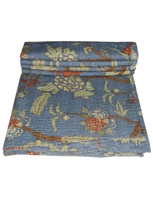 Kantha Quilt Queen Cotton Vintage Throw Blanket Multi Design Indian Handmade GDR0419