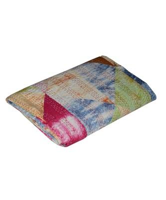 Kantha Quilt Queen Cotton Vintage Throw Blanket Multi Design Indian Handmade GDR0457