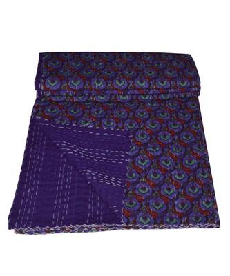 Kantha Quilt Queen Cotton Vintage Throw Blanket Multi Design Indian Handmade GDR0462