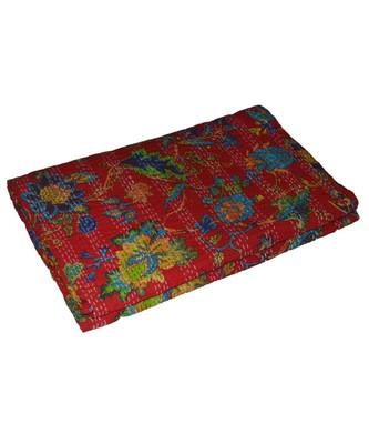 Kantha Quilt Queen Cotton Vintage Throw Blanket Multi Design Indian Handmade GDR0479